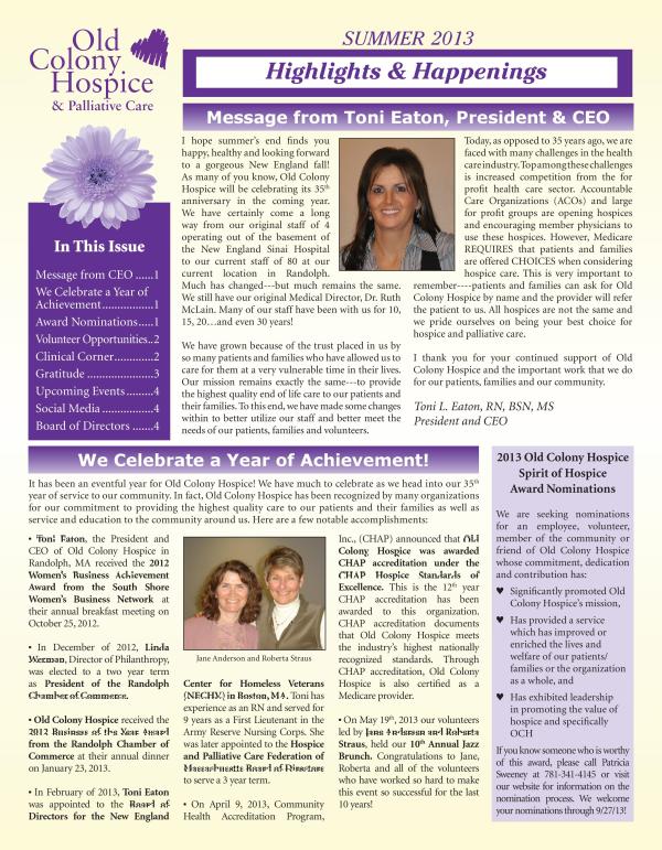 Summer 2013 Newsletter Cover