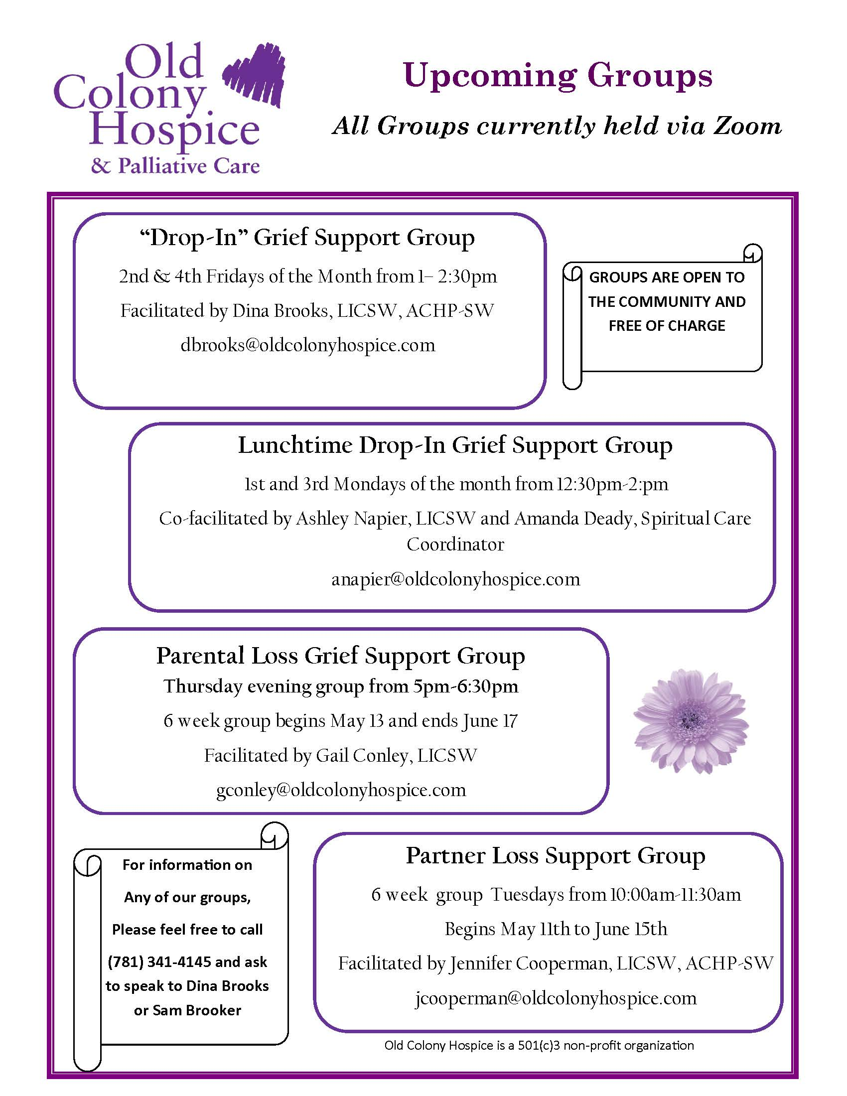 May Update for OCH Grief Support Groups