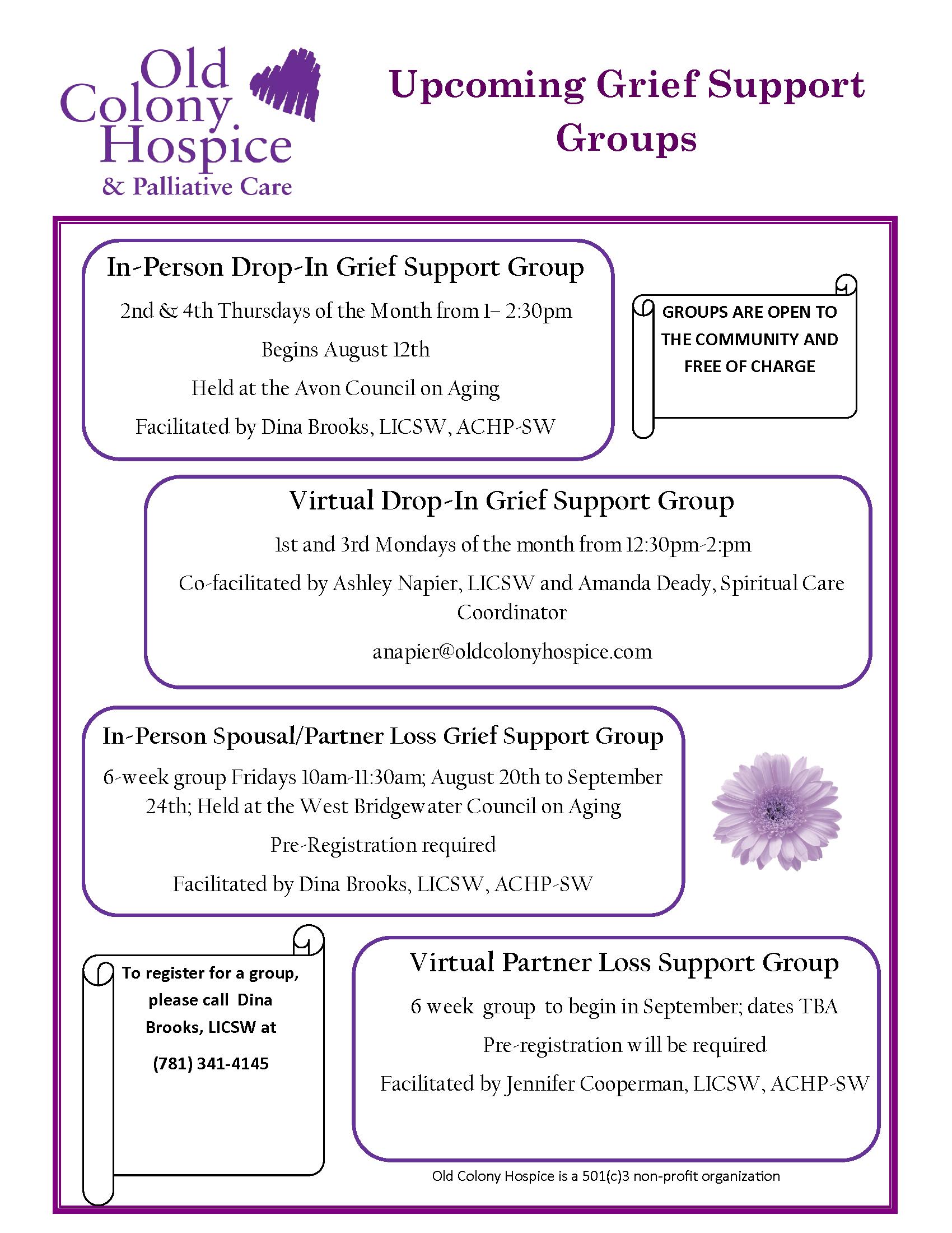 Summer 2021 OCH Grief Support Group Flyer